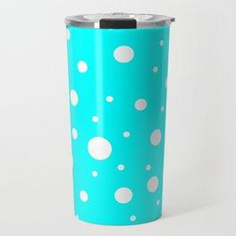 Mixed Polka Dots - White on Aqua Cyan Travel Mug