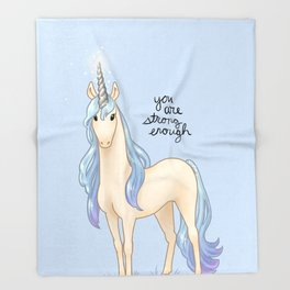"""""""You Are Strong Enough"""" Unicorn Throw Blanket"""