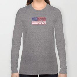 Field Hockey USA American Flag Hockey Stick & Ball Worn Distressed Long Sleeve T-shirt
