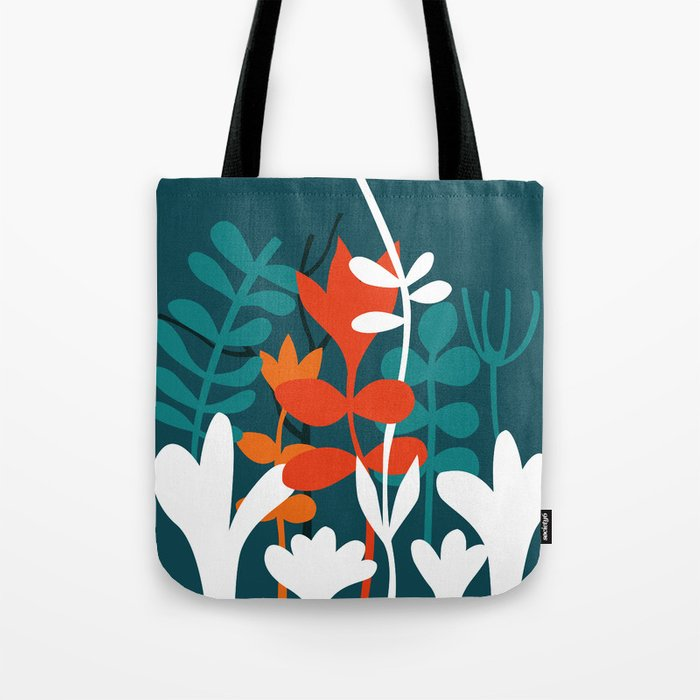 Flower Bouquet in Deep Blue and Orange Tote Bag