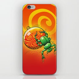 Green Beetle Pushing a Christmas Ball iPhone Skin