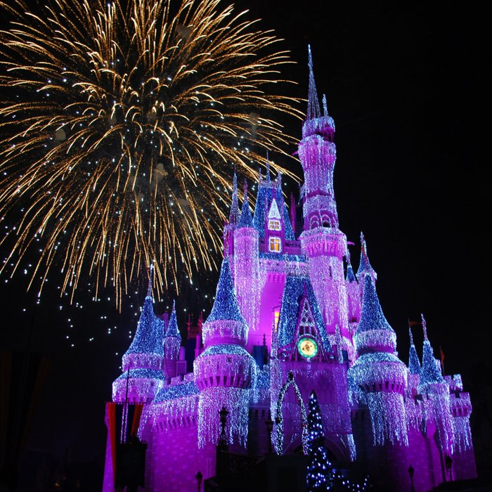 Disney Magic Kingdom Fireworks At Christmas Cinderella