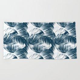Blue Palm Leaves Beach Towel