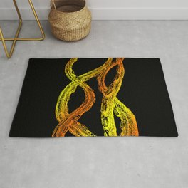 Woodcut Style Cthulu Octopus Tentacles on Black Background Terror Four Fire Rug