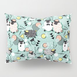 Mééé Memphis sheep // mint background Pillow Sham