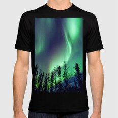 Northern Lights in Yellowknife MEDIUM Black Mens Fitted Tee