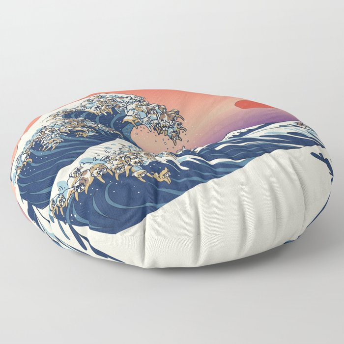 The Great Wave of English Bulldog Floor Pillow