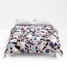 Terrazzo Spot Blues on Blush Comforters