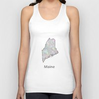 maine Tank Tops featuring Maine map by David Zydd
