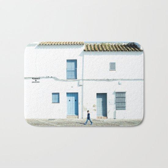 White and blue town Bath Mat