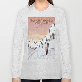 French Pyrénées Ski poster Long Sleeve T-shirt