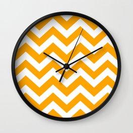 Orange (web) - orange color - Zigzag Chevron Pattern Wall Clock