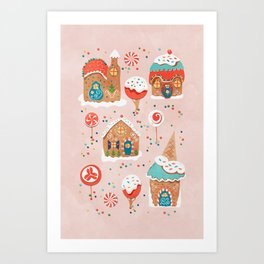 Gingerbread Candy Land on pink Art Print