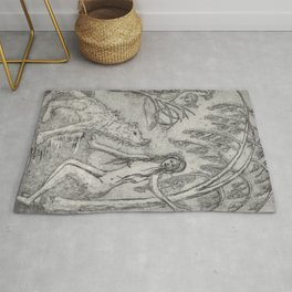 Nude and wolf Rug