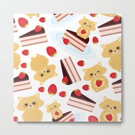 attern cute kawaii hamster with fresh Strawberry, cake decorated pink cream and chocolate Metal Print