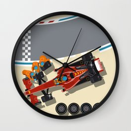 Race car in pit stop Wall Clock