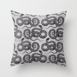 Silver Serpent snake Throw Pillow