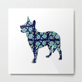 Blue Heeler Floral Metal Print