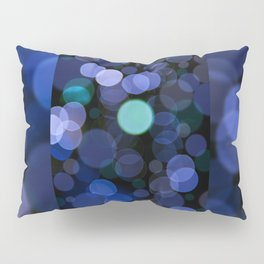 Blue bokeh circles blurry texture Pillow Sham