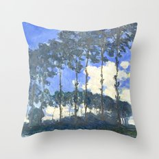 Monet : Poplars on the River Epte Throw Pillow