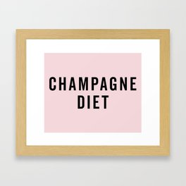 Champagne Diet Funny Quote Framed Art Print