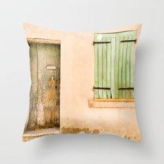 Green wooden door and shuttered window Throw Pillow
