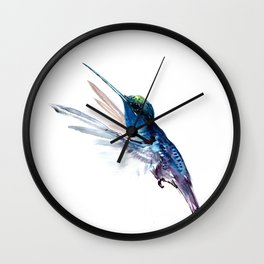 Hummingbird, Navy Blue Turquoise Artwork, minimalist bird art blue Wall Clock