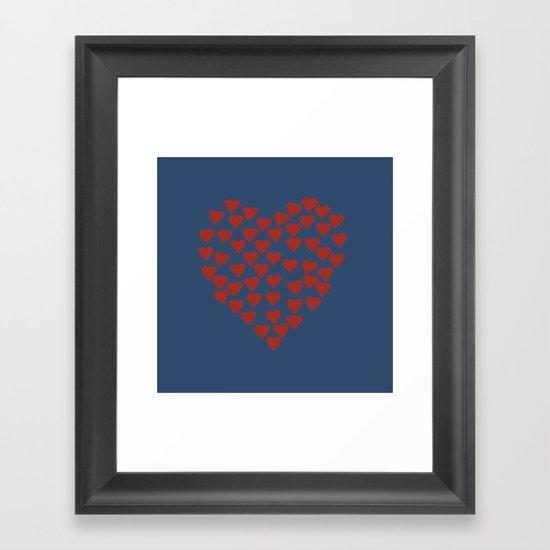 Hearts Heart Red on Navy Framed Art Print