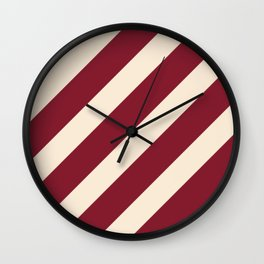 Antique White and Antique Ruby Diagonal Stripes Wall Clock