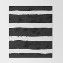 Black & White Paint Stripes by Friztin Throw Blanket