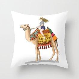Woman on a Camel Throw Pillow