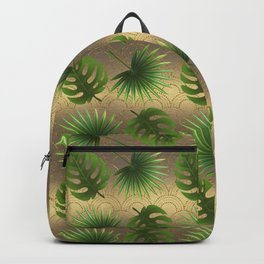 Tropical Leaves Gold Great Gatsby Backpack