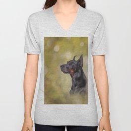 Drawing Doberman dog 2 Unisex V-Neck