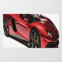 lamborghini Area & Throw Rugs featuring Lamborghini Veneno by rosita