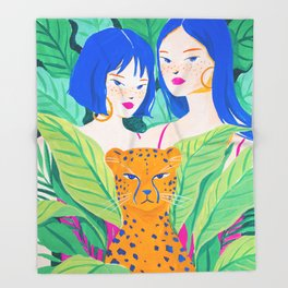 Girls and Panther in Tropical Jungle Throw Blanket