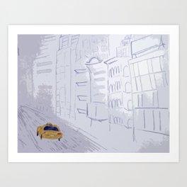 Taxi City Art Print