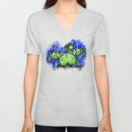 butterfly beautiful strong free splatter watercolor blue green Unisex V-Neck