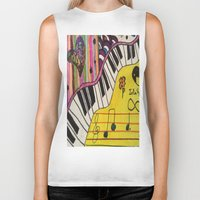 piano Biker Tanks featuring Piano by Sydsart1259