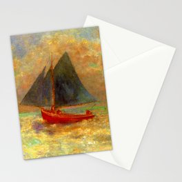 "Odilon Redon ""Boat with blue sail"" Stationery Cards"
