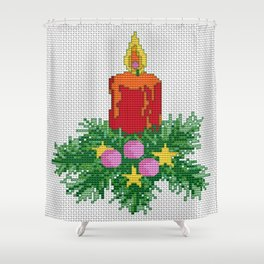 Christmas Candle Cross Stitch Shower Curtain