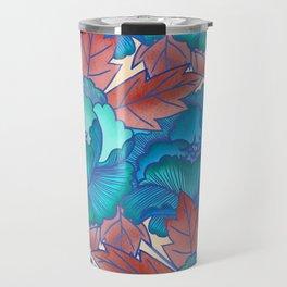 Peonies and Stripes Pattern - Blue, Purple,Yellow Travel Mug