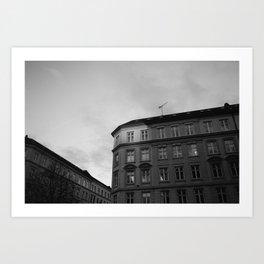 Copenhagen morning | Minimal black and white photography Art Print