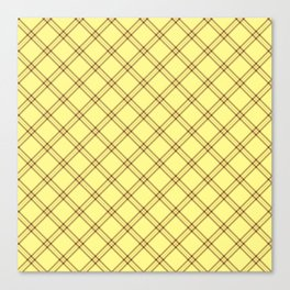 Pale Yellow and Brown Plaid Canvas Print