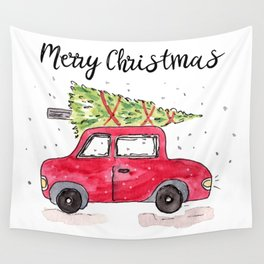 Christmas Tree on Red Car Wall Tapestry