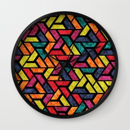 Seamless Colorful Geometric Pattern XI Wall Clock