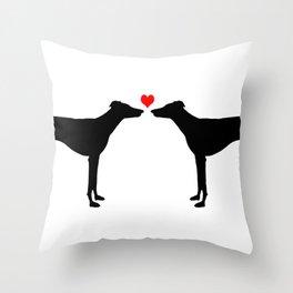 Greyhound love Throw Pillow