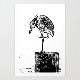 B&W Heron Art Print