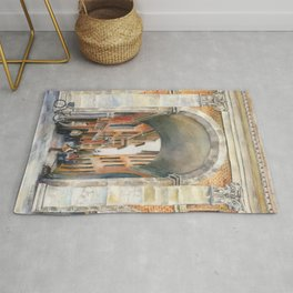 Bologna, Italy Architecture — Watercolor art print Rug