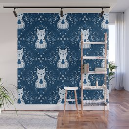 White Cat Bluesy: Folk Art Wall Mural