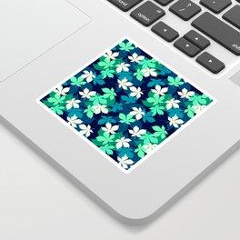 Tropical Island Leaf Pattern in Blue, Green & White Sticker